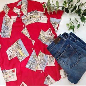 Liz Claiborne Silk Blouse Postcard Printed Red M